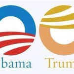 Trump Sticker: Obama vs trump logo