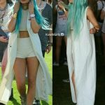 Kylie Jenner sporting blue hair in Coachella