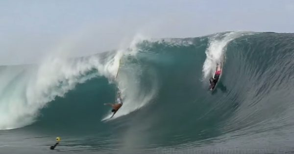 Watch Surfer gets Swallowed by a Massive Wave at Teahupoo